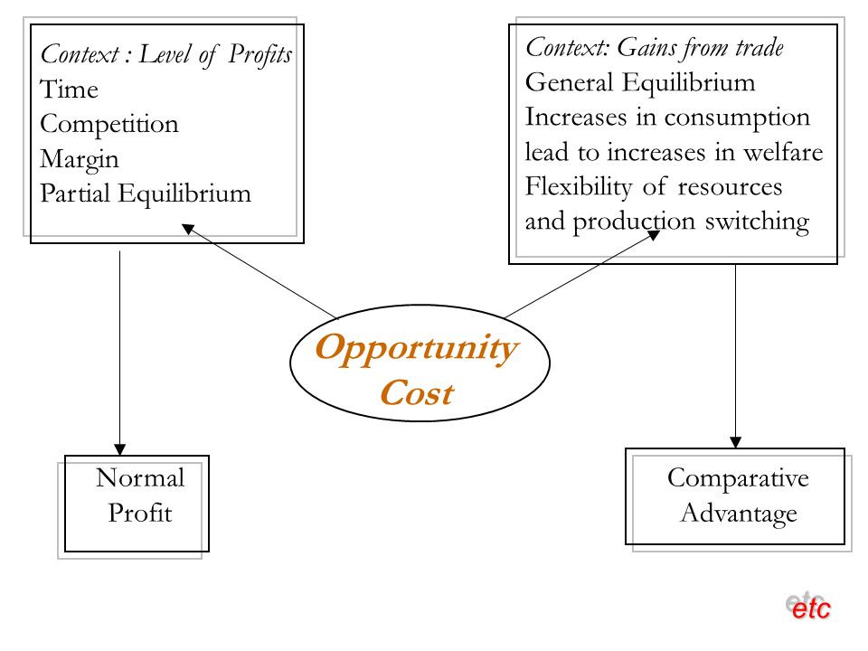 Opportunity Cost Context : Level of Profits Time Competition Margin Partial Equilibrium Context: Gains from trade General Equilibrium Increases in consumption lead to increases in welfare Flexibility of resources and production switching Normal Profit Comparative Advantage etcetc