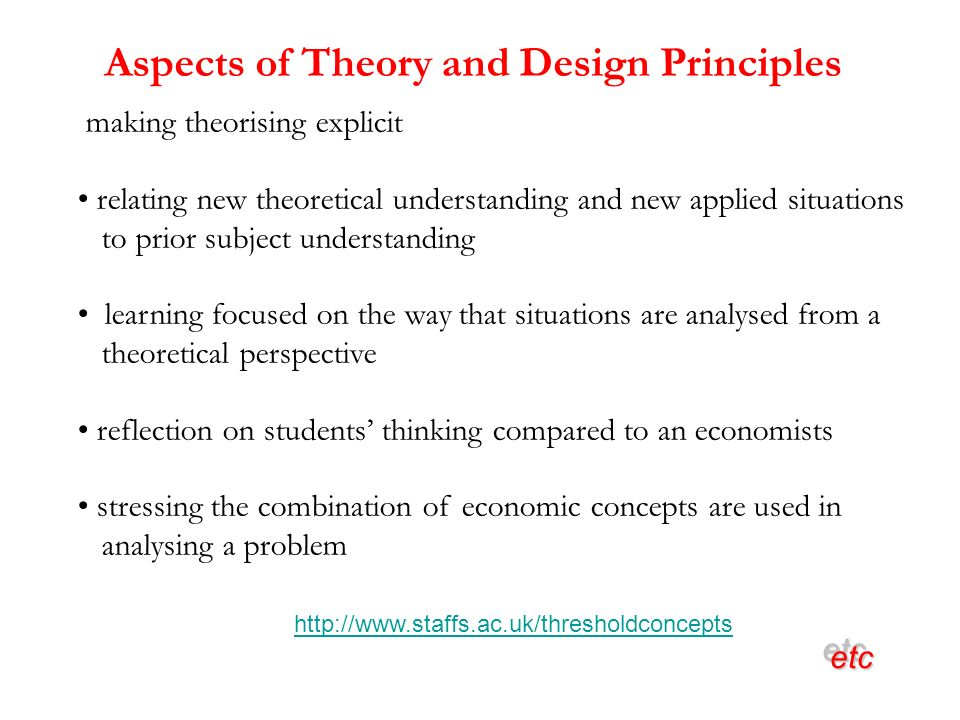 Aspects of Theory and Design Principles etcetc making theorising explicit relating new theoretical understanding and new applied situations to prior subject understanding learning focused on the way that situations are analysed from a theoretical perspective reflection on students thinking compared to an economists stressing the combination of economic concepts are used in analysing a problem