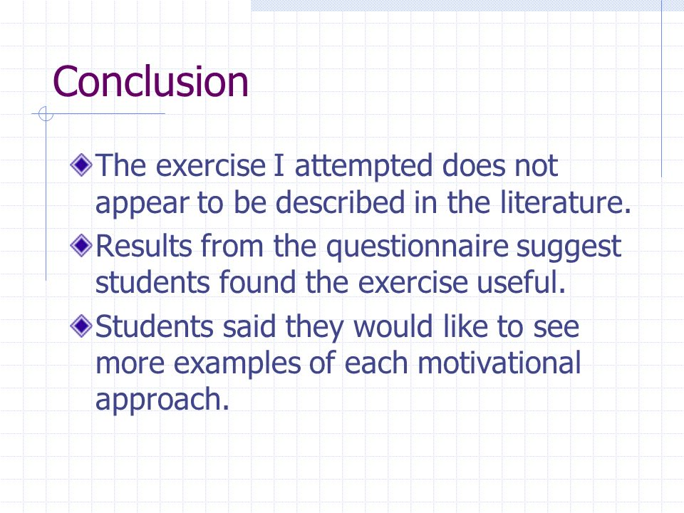 Conclusion The exercise I attempted does not appear to be described in the literature.