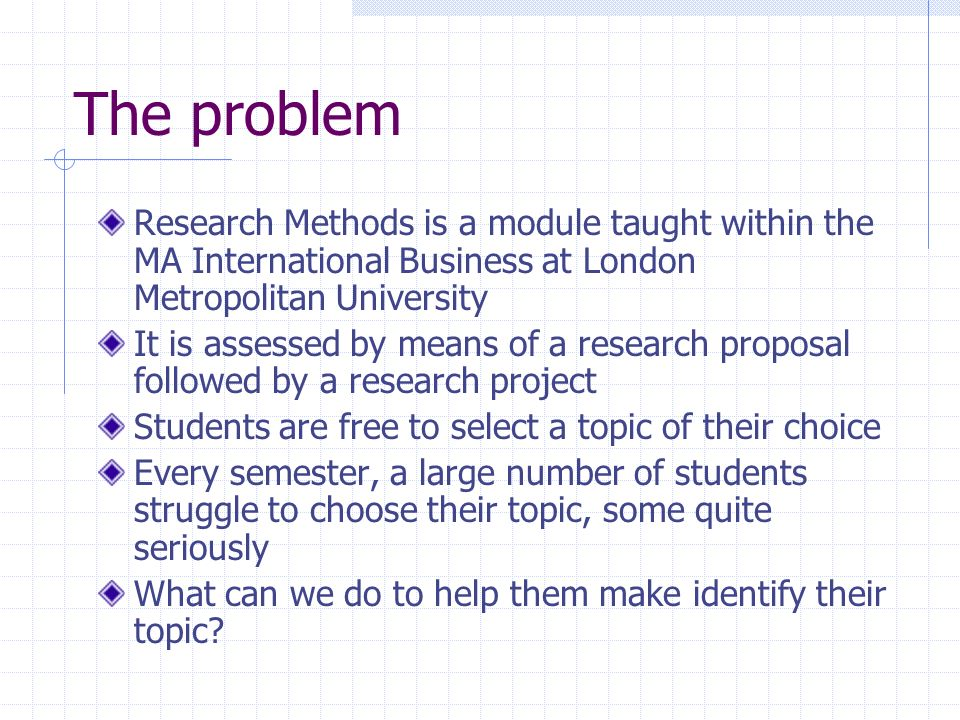 The theoretical problem John Sedgwick (my co-lecturer) and I wondered if the students needed to better identify their motivations for choosing a topic.