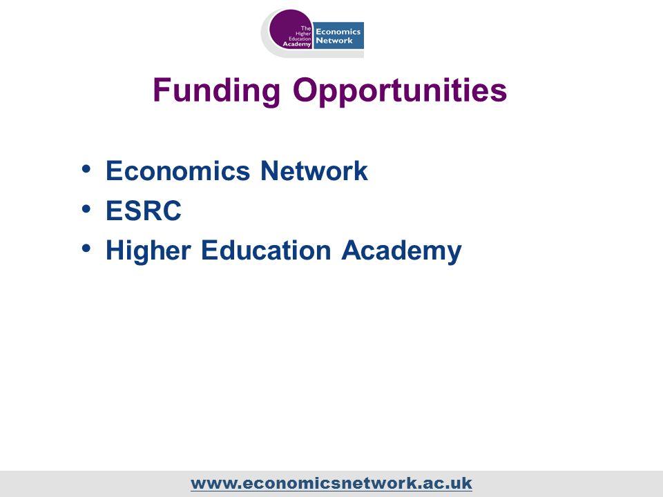 www.economicsnetwork.ac.uk Funding Opportunities Economics Network ESRC Higher Education Academy