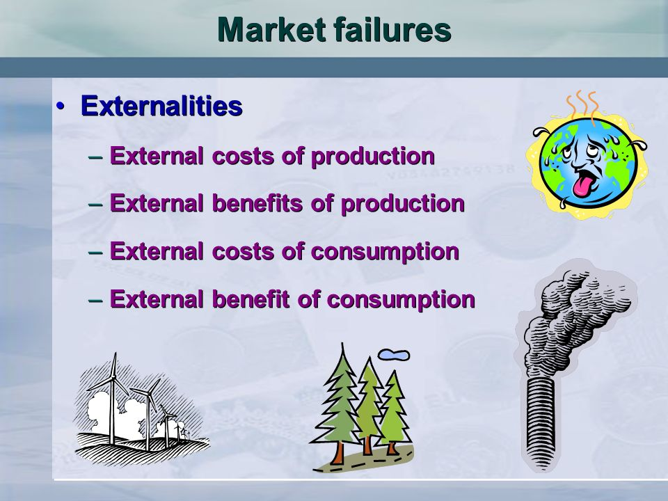 Market failures Externalities –External costs of production –External benefits of production –External costs of consumption –External benefit of consumption Externalities –External costs of production –External benefits of production –External costs of consumption –External benefit of consumption
