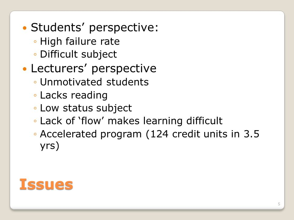 Issues Students perspective: High failure rate Difficult subject Lecturers perspective Unmotivated students Lacks reading Low status subject Lack of f