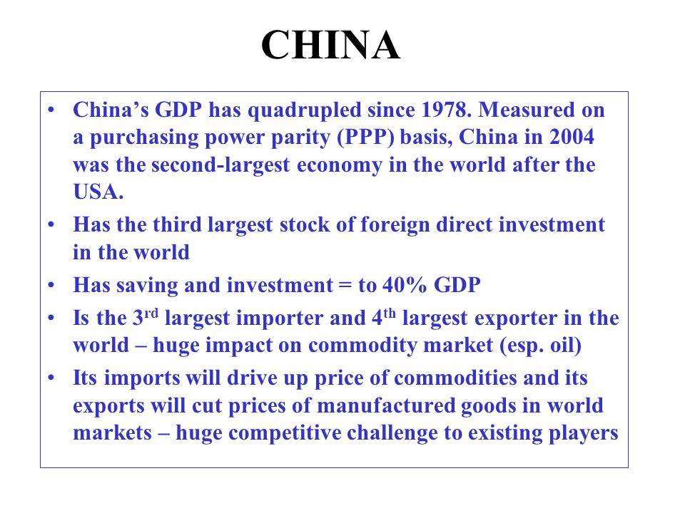 CHINA Chinas GDP has quadrupled since 1978.