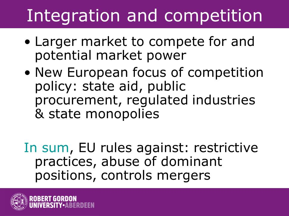 Integration and Market Size Europe as a whole versus small size of European nations: –implicit assumption: market size good for economic performance.