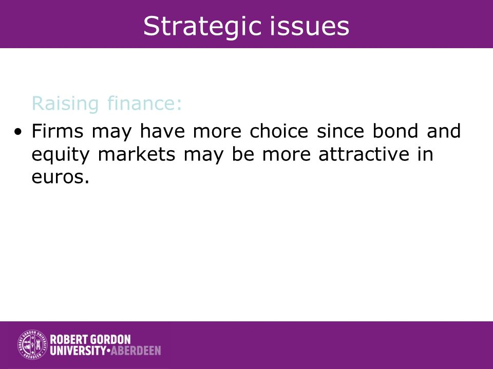 Strategic issues Raising finance: Firms may have more choice since bond and equity markets may be more attractive in euros.