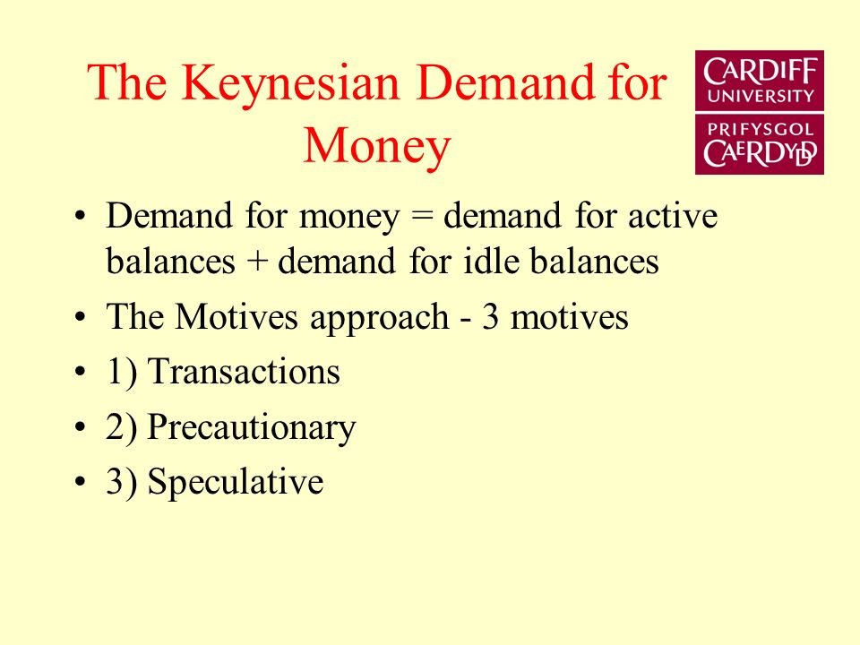 Keynes Demand for Money Sound micro-foundations on the demand for money based on risk and return Extension of risk-return analysis to a multi- asset framework