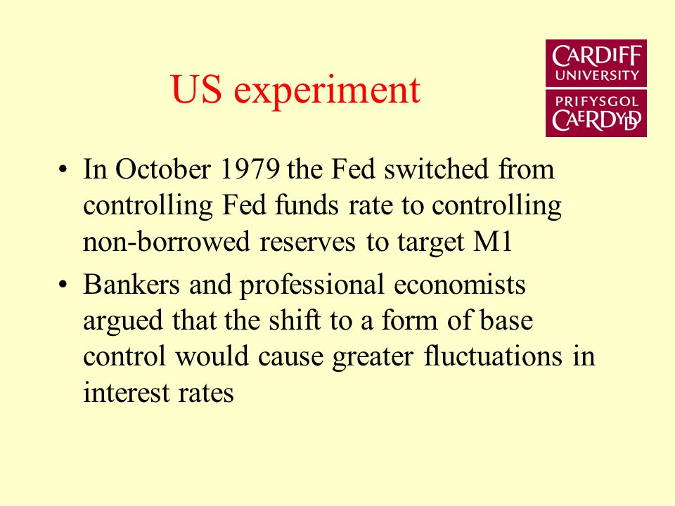 Money Stock Control - Two Monetarist Experiments USA - 1979-82 Base Control UK 1980-85 Medium Term Financial Strategy (MTFS) Two views concerning the pace of monetary control 1) Gradualist 2) Sudden death