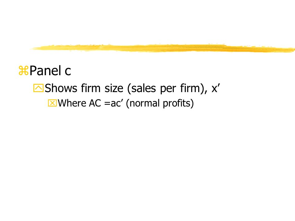 zPanel c yShows firm size (sales per firm), x xWhere AC =ac (normal profits)