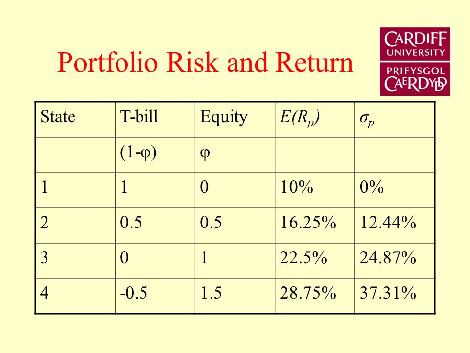 Linear Opportunity set Let the risk-free rate R f = 10% and the return on the bundle of assets R N = 22.5%. The standard deviation of the returns on t