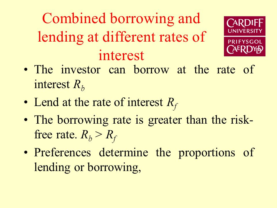 Borrowing and lending frontier E(R p ) σpσp RfRf A B C
