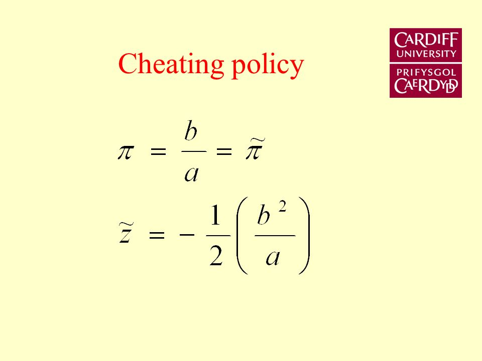 Policy rule Ex-ante optimal policy time inconsistent but if CB can pre-commit = e = 0 = * cost z = 0 = z*