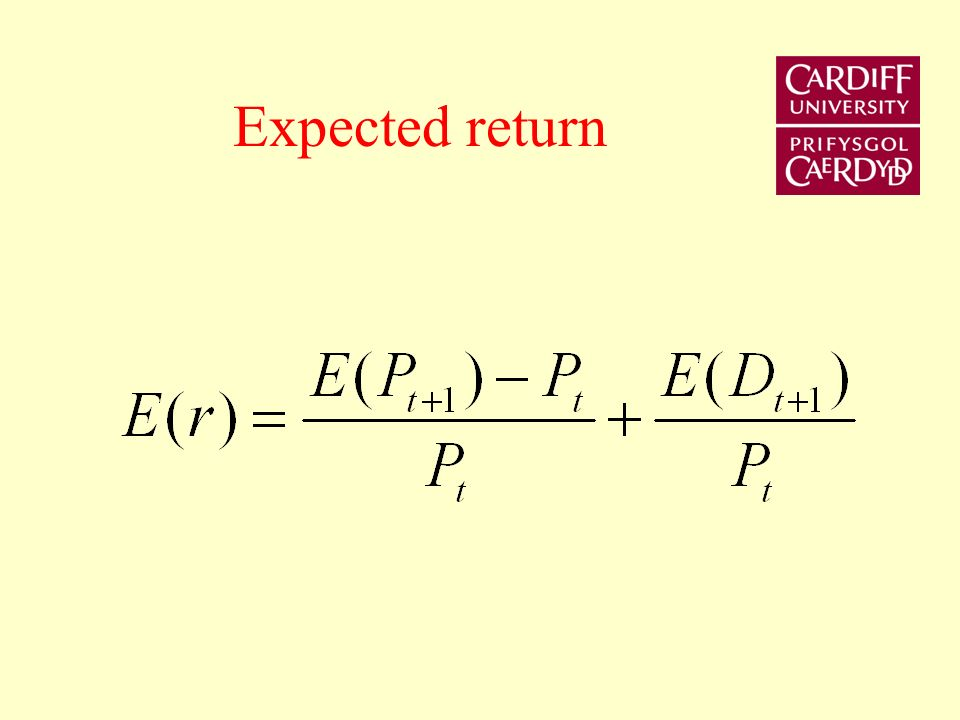 Risk and Return Expected return of a share is the sum of the earnings per share and expected percentage capital gain. For example if the current price
