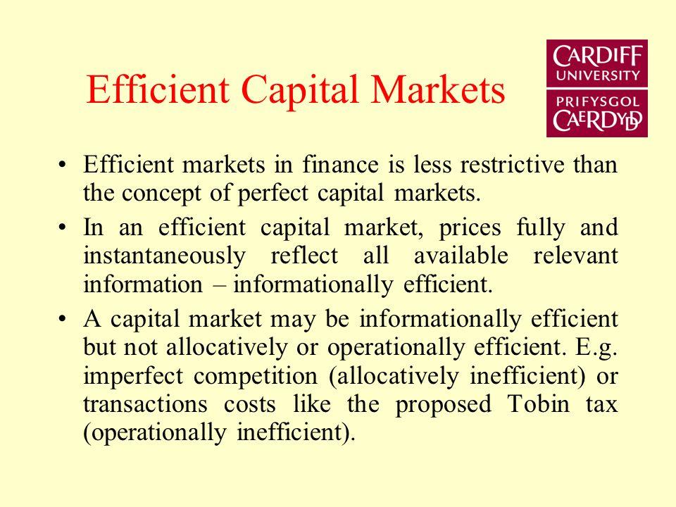 Concepts of efficiency Economics provides concepts of efficiency – allocative and operational efficiency An allocationally efficient market is one whe