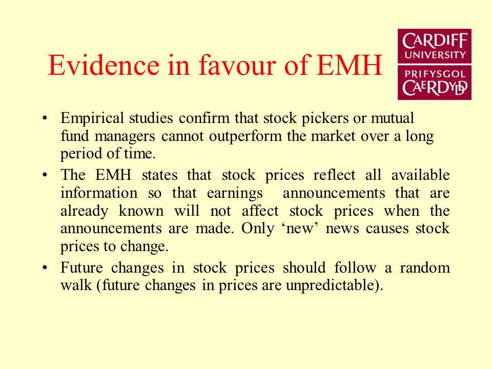 Implication of EMH Let equilibrium return for stock A is 10%. The current price P t is lower than the optimal forecast price P o t+1 so that the optim