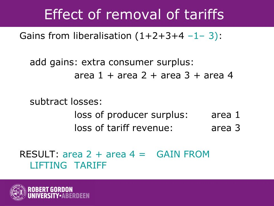 Effect of removal of tariffs Gains from liberalisation (1+2+3+4 –1– 3): add gains: extra consumer surplus: area 1 + area 2 + area 3 + area 4 subtract