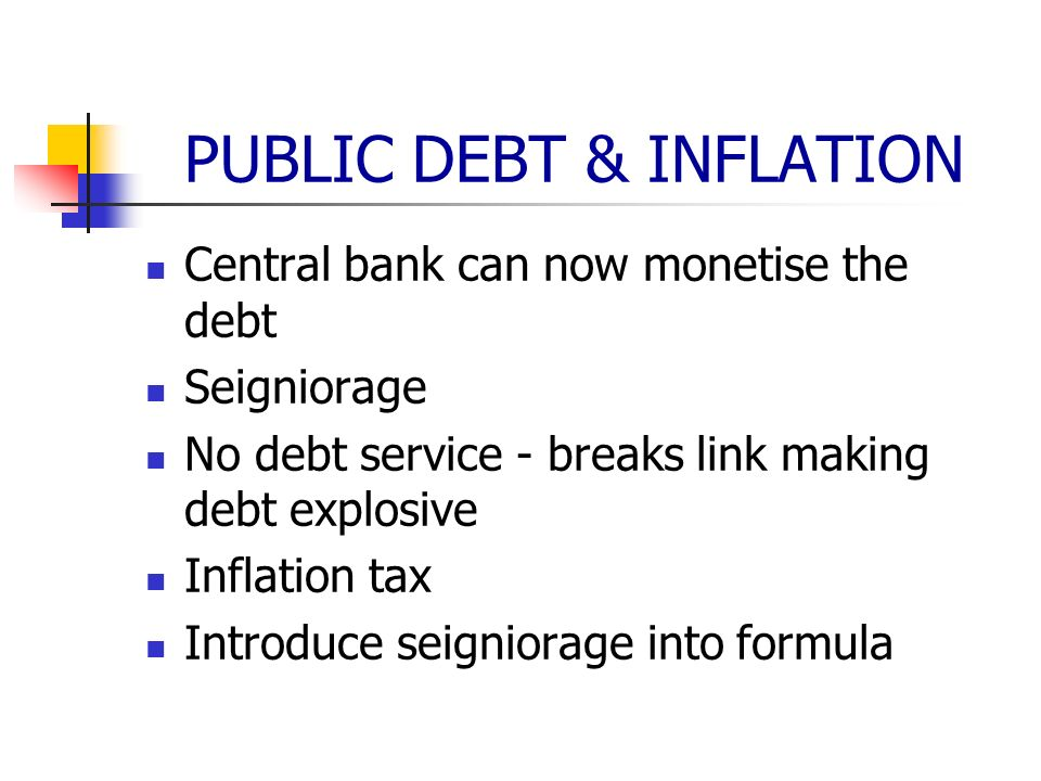 PUBLIC DEBT & INFLATION Central bank can now monetise the debt Seigniorage No debt service - breaks link making debt explosive Inflation tax Introduce