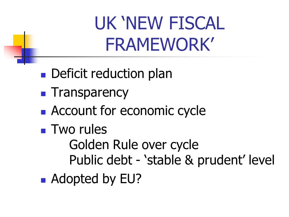 UK NEW FISCAL FRAMEWORK Deficit reduction plan Transparency Account for economic cycle Two rules Golden Rule over cycle Public debt - stable & prudent level Adopted by EU?