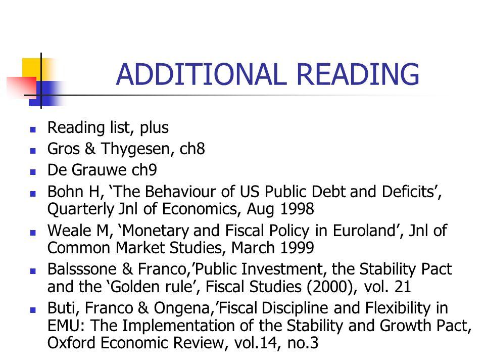ADDITIONAL READING Reading list, plus Gros & Thygesen, ch8 De Grauwe ch9 Bohn H, The Behaviour of US Public Debt and Deficits, Quarterly Jnl of Econom
