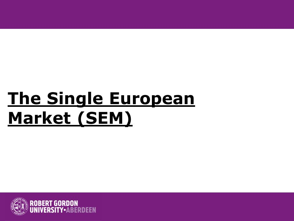 The Single European Market (SEM)