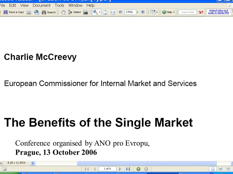 Conference organised by ANO pro Evropu, Prague, 13 October 2006
