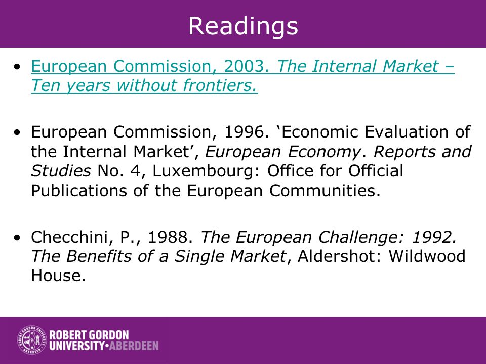 Readings European Commission, 2003.