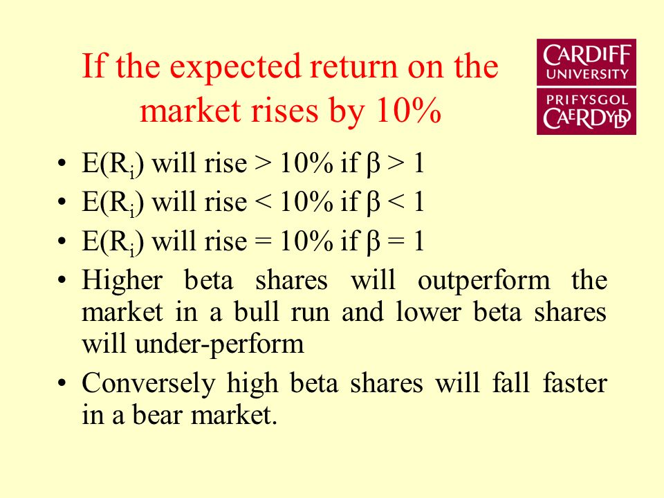 Beta The numerator represents the systematic risk of asset A The denominator represents the total risk of the market portfolio Beta is an index of the