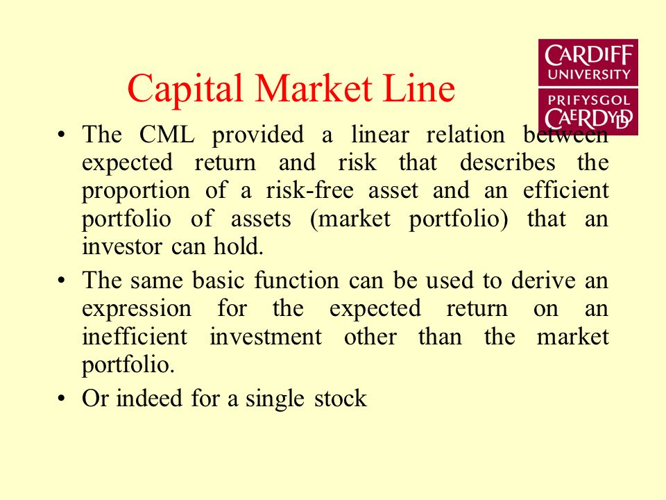 CML The market portfolio represents the point on the efficient frontier which maximises the slope of the CML. The optimal proportions of risky assets