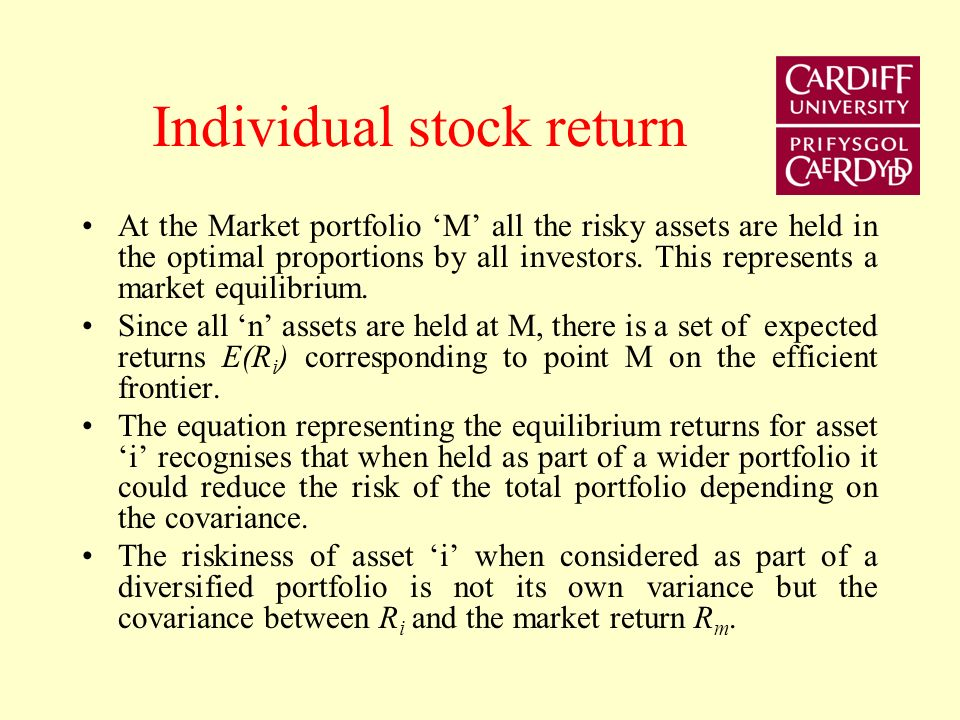 Capital Market Line The CML provided a linear relation between expected return and risk that describes the proportion of a risk-free asset and an effi