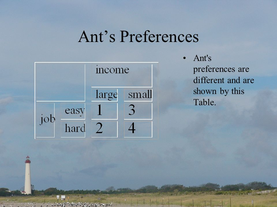 Ants Preferences Ant s preferences are different and are shown by this Table.