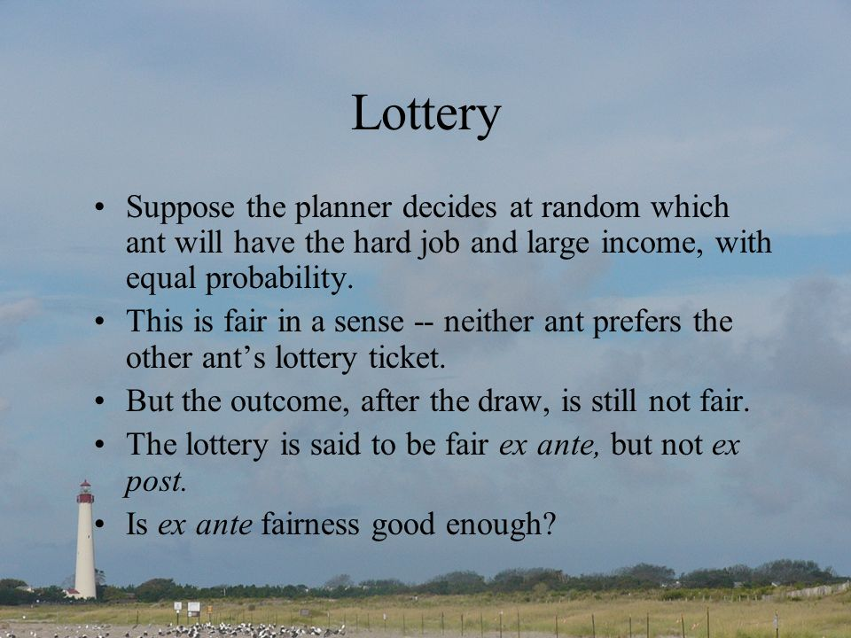 Lottery Suppose the planner decides at random which ant will have the hard job and large income, with equal probability.