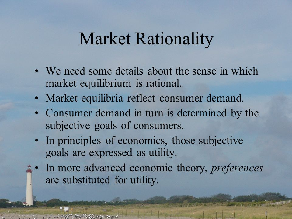 Market Rationality We need some details about the sense in which market equilibrium is rational.