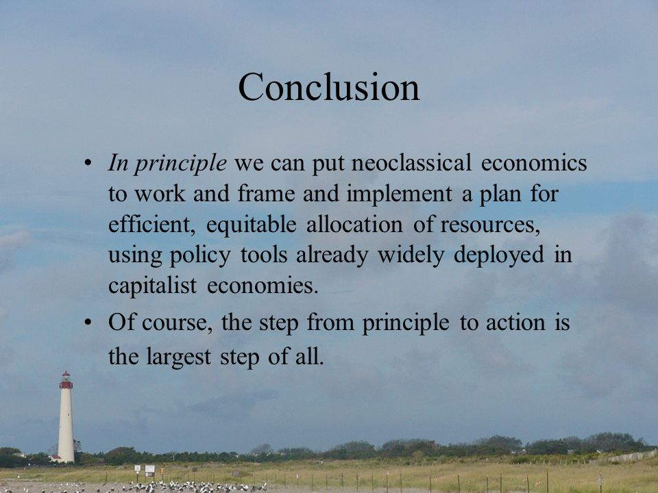 Conclusion In principle we can put neoclassical economics to work and frame and implement a plan for efficient, equitable allocation of resources, using policy tools already widely deployed in capitalist economies.