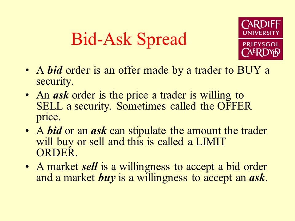 Bid-Ask Spread A bid order is an offer made by a trader to BUY a security.