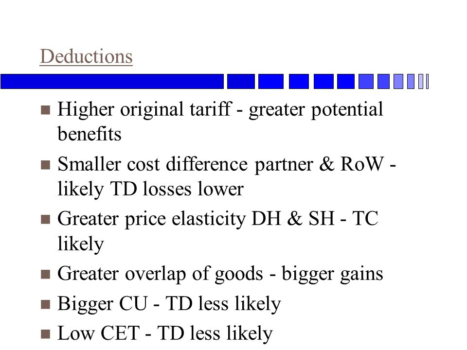Deductions n Higher original tariff - greater potential benefits n Smaller cost difference partner & RoW - likely TD losses lower n Greater price elasticity DH & SH - TC likely n Greater overlap of goods - bigger gains n Bigger CU - TD less likely n Low CET - TD less likely