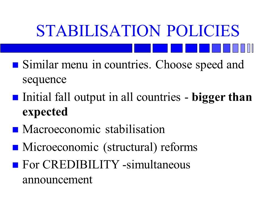 STABILISATION POLICIES n Similar menu in countries. Choose speed and sequence n Initial fall output in all countries - bigger than expected n Macroeco