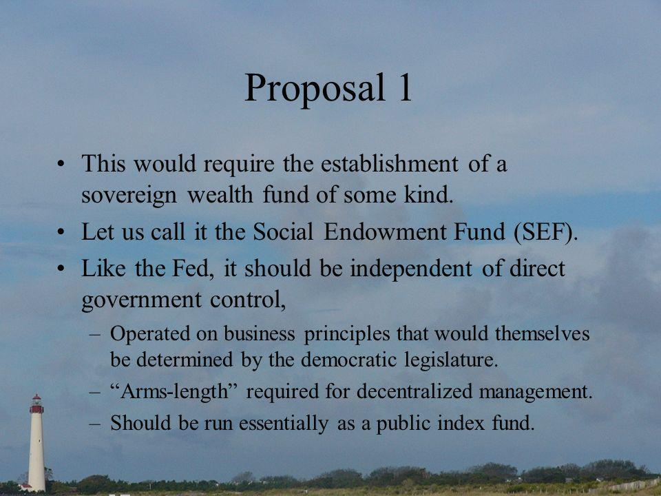 Proposal 1 This would require the establishment of a sovereign wealth fund of some kind.