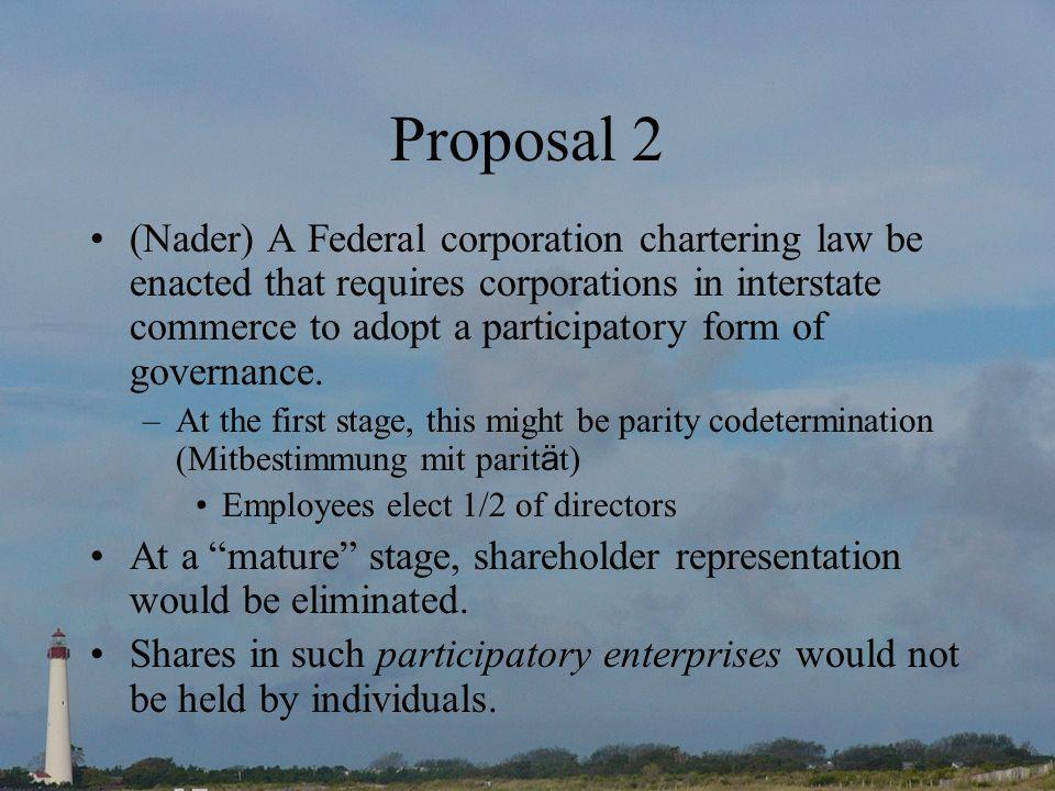 Proposal 2 (Nader) A Federal corporation chartering law be enacted that requires corporations in interstate commerce to adopt a participatory form of governance.