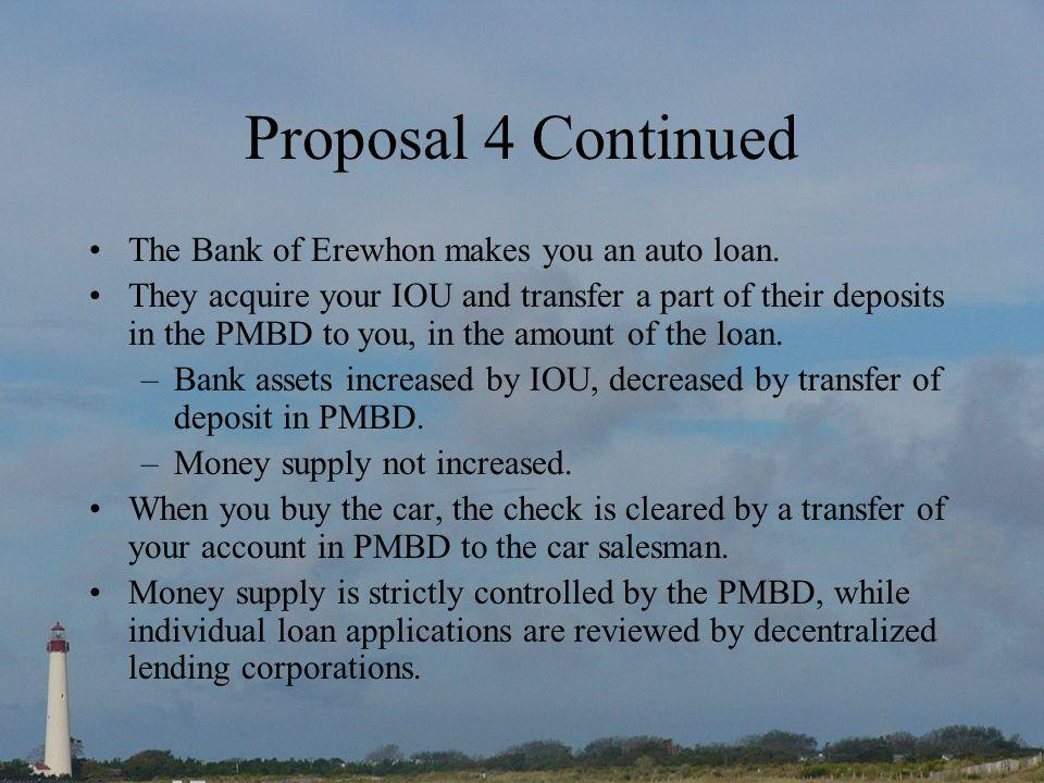Proposal 4 Continued The Bank of Erewhon makes you an auto loan.