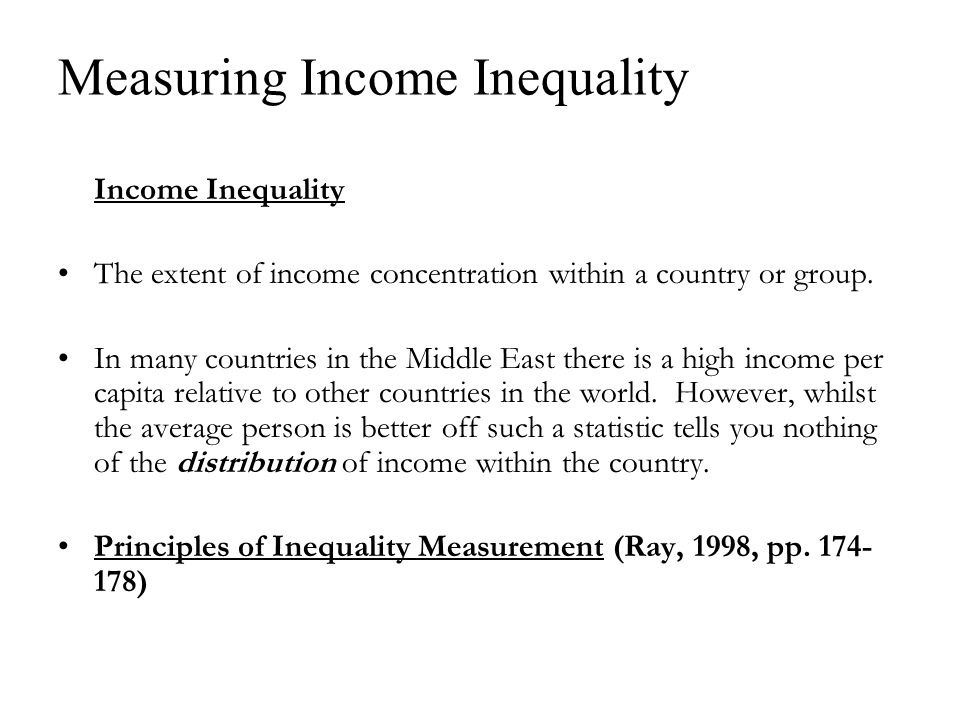 Income Inequality The extent of income concentration within a country or group.
