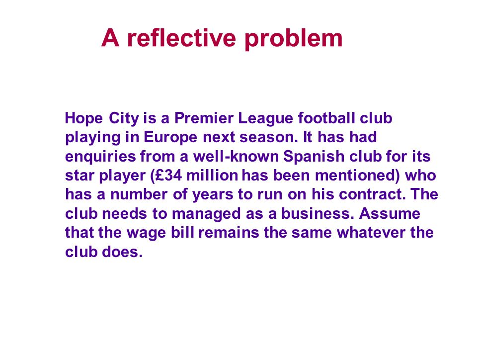A reflective problem Hope City is a Premier League football club playing in Europe next season. It has had enquiries from a well-known Spanish club fo