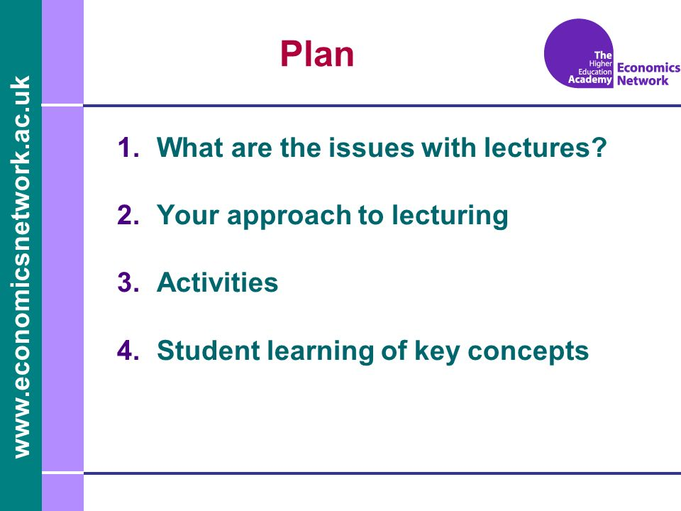 www.economicsnetwork.ac.uk Plan 1.What are the issues with lectures.