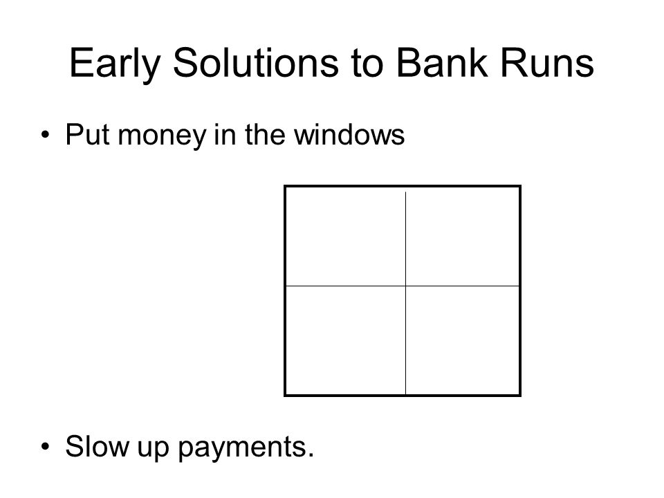 Early Solutions to Bank Runs Put money in the windows Slow up payments.