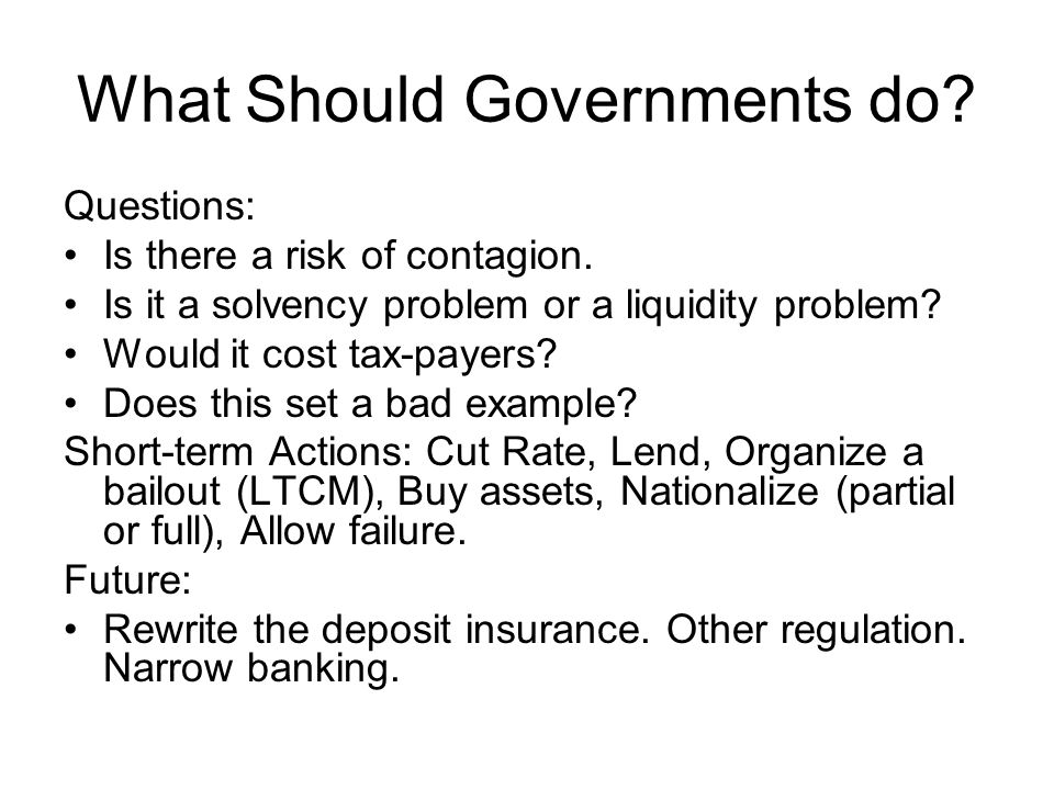 What Should Governments do. Questions: Is there a risk of contagion.