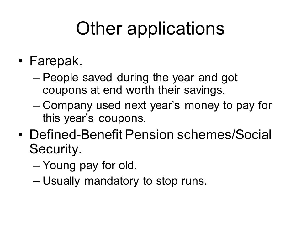 Other applications Farepak.