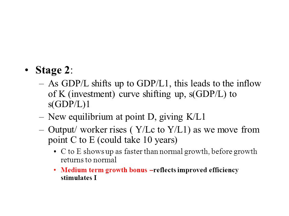 Inflow of K (investment) s(GDP/L) Depreciation / worker d (K/L) K/L* K/L Euro/L A B Output/worker GDP/L Y/L* GDP/L 1 Y/Lc C