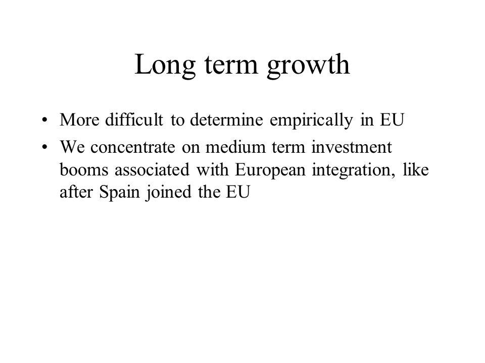 Depreciation / worker d (K/L) K/L* K/L Euro/L A B Y/L* GDP/L 1 Y/Lc C s(GDP/L)1 D E Y/L1 K/L1 Allocation effect Medium term growth bonus Induced K formation, resulting from integration