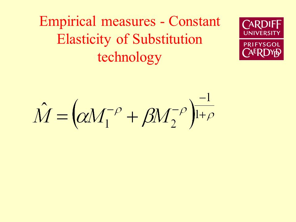 Empirical measures - Constant Elasticity of Substitution technology