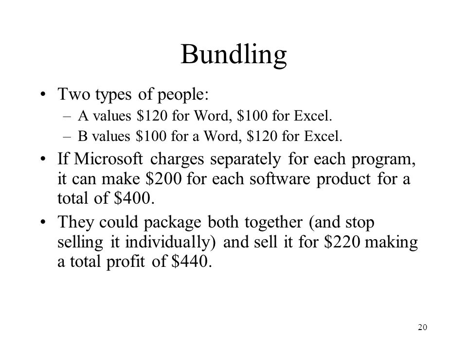20 Bundling Two types of people: –A values $120 for Word, $100 for Excel.