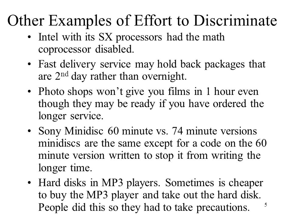 5 Other Examples of Effort to Discriminate Intel with its SX processors had the math coprocessor disabled.